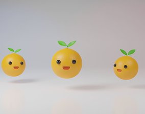 Yellow orange fruits character bouncing on white 3D asset