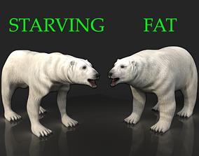 2 Bears - bony skinny starving ravenous 3D model 2