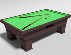 3D model Low Poly Cartoon Carom Billiard Pool