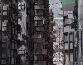 3D Old buildings apocalypse Hong Kong inspired Kowloon