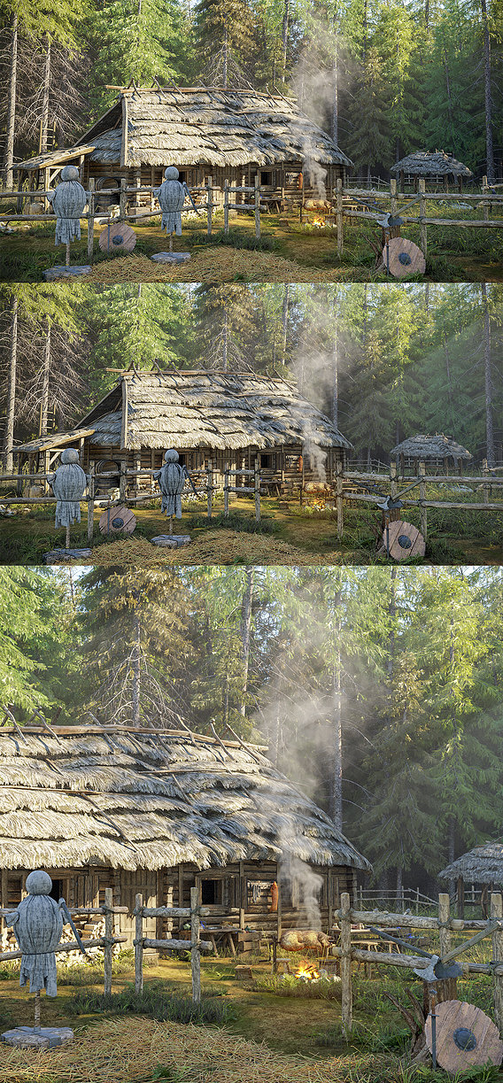 Medieval House In Pine Forest
