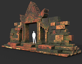 3D asset Low poly Mossy Brick Ruin Asia Temple Gate 01