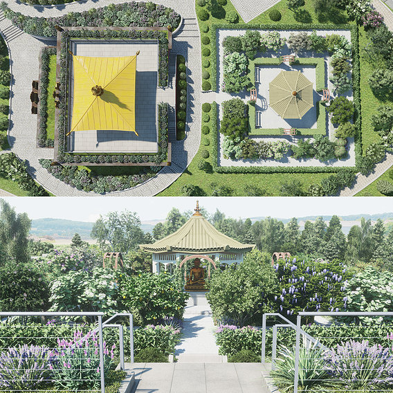 Lumion ArchViz Project - Buddhist Spa and Retreat Center - Part3 Garden Mandala