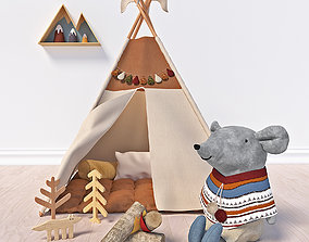 3D model Wigwam and toys set