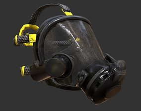 Gas Mask Fireman Firefighter Rebreather Gear 3D model