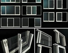 Sliding Stained Glass Aluminum Doors 3D model