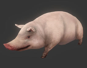 3D asset VR / AR ready Low poly Pig Animated - Game Ready
