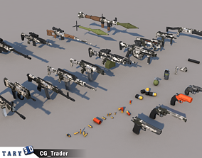 game-ready Lowpoly Militray Weapon Colection Pack 3D