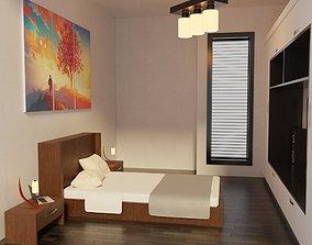 Modern Bedroom - Hotel Room 3D asset