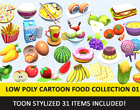 Toy Toon Cute Food Collections Low Poly Pack - 3D model 2