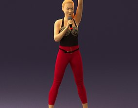 Woman in red leggings and microphone 0633 3D Print Ready