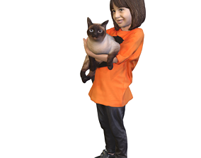 No202 - Girl Standing With A Cat 3D model