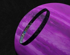 Black rotating space habitat with green purple 3D model 2