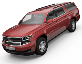 Chevrolet Suburban SUV Low-poly 3D model animated