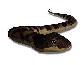 Low poly grass-snake 3D asset