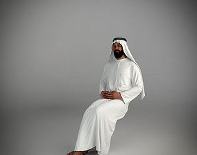 3D Traditional arab man from dubai posed sitting