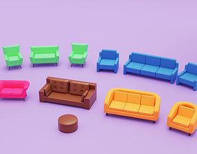 3D asset Home Sofa Furniture Cartoon Simple Style