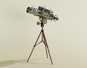 Antique Tripod Telescope - 3d Model science