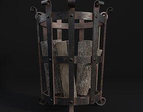 3D asset low-poly Medieval Brazier- Fire Basket