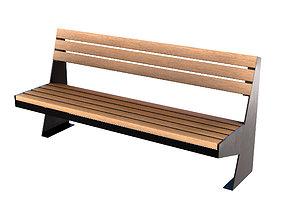 3D model realtime PBR Wooden bench games