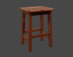 Wooden Stool 3D asset realtime nature