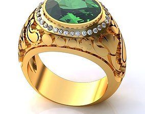 Golden Ring with Emerald BK062 3D
