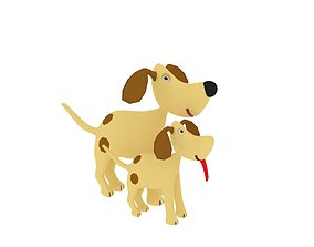 3D asset Dog Cartoon Character