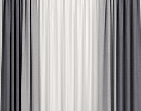 Blue curtains with tulle 3D model