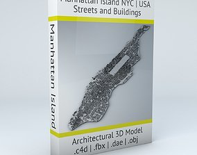 3D model New York City Manhattan Island Streets and