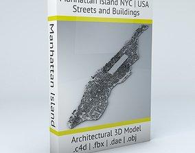 3D model New York City Manhattan Island Streets and