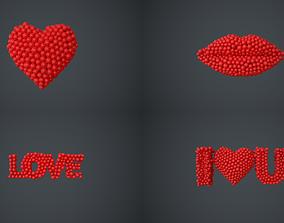 heart - lips - love - I love you - animations 3D model
