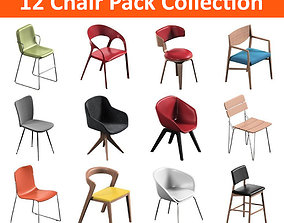 12 Chair Pack Collection 3D model