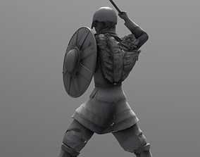 middleage 3D printable model Viking with shield