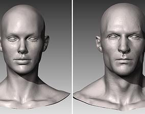 Realistic White Male and Female Head Bundle 3D model