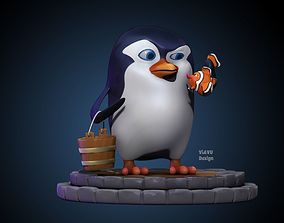 3D Cartoon Penguin and Clownfish model