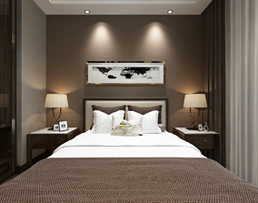 3D Hotel Guest Room bedroom European style furnishing