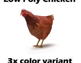 Chicken low poly 3D model