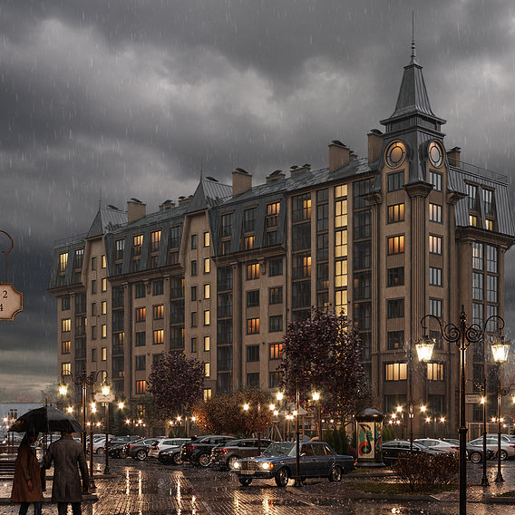 Visualization of a residential complex, Zelenogradsk