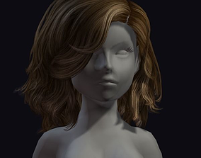 beauty hair 3D model game-ready periwig