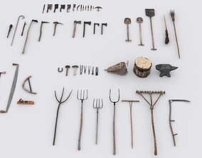 3D model Collection of 51 Medieval Village Hand Tools