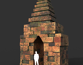 Low poly Mossy Brick Ruin Asia Temple 08 3D model