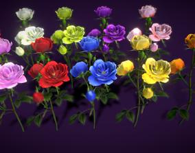 3D asset Flower Rose Bungaria