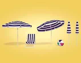 3D asset Beach Parasol Chair and Ball