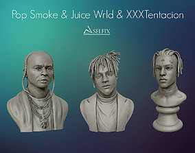 Juice wrld XXXTentaction and POP SMOKE portrait 3D model