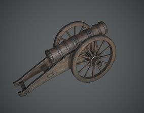 Wooden Cannon 3D asset