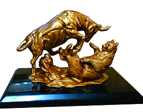 Bull vs Bear sculpture Ready to Print 3D printable model