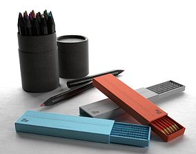 Paper Tube Box and Pencils 3D