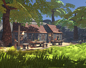 3D model Cartoony tavern and outdoor
