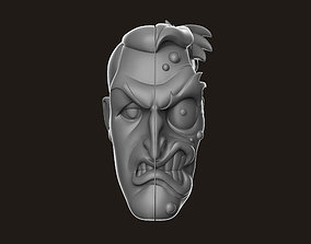 3D printable model relief Two Face Head