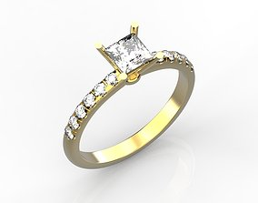 Engagement rings with square stone 3D print model